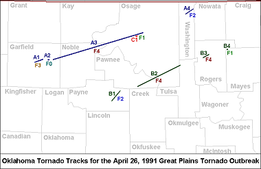 Oklahoma Tornado Tracks for the April 26, 1991 Great Plains Tornado Outbreak