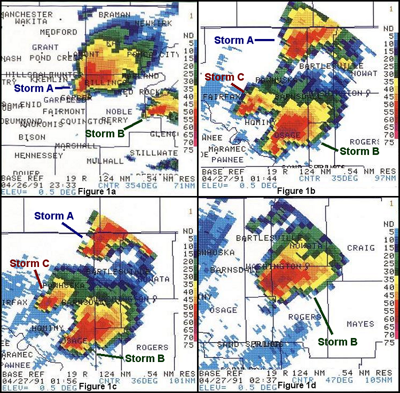 Radar Reflectivity Images on 4/26/1991 from the Norman, Oklahoma (KOUN) WSR-88D Radar