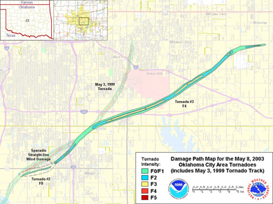 Approximate Damage Paths of the May 8, 2003 OKC Area Tornadoes Compared to the May 3, 1999 F5 Tornado