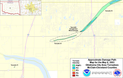 Approximate Damage Paths of the May 8, 2003 OKC Area Tornadoes