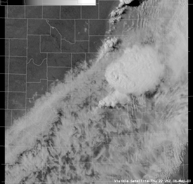 Visible Satellite Image for Oklahoma at 5:25 PM CDT 5/08/2003
