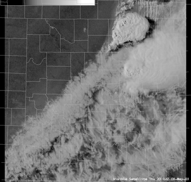 Satellite Image for 6:03 PM CDT, 5/08/2003