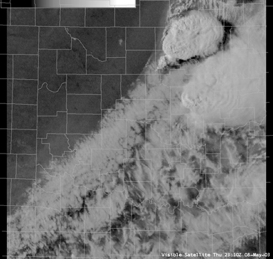 Satellite Image for 6:10 PM CDT, 5/08/2003