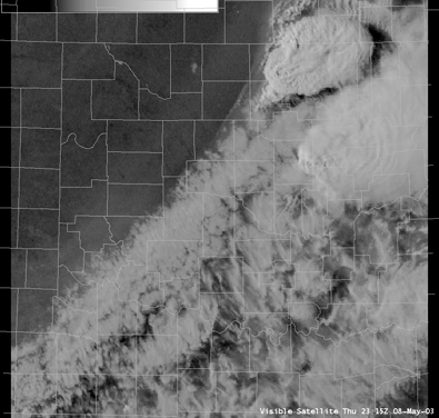 Satellite Image for 6:15 PM CDT, 5/08/2003