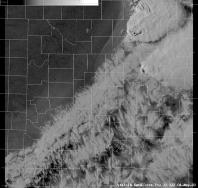 Satellite Image for 6:32 PM CDT, 5/08/2003