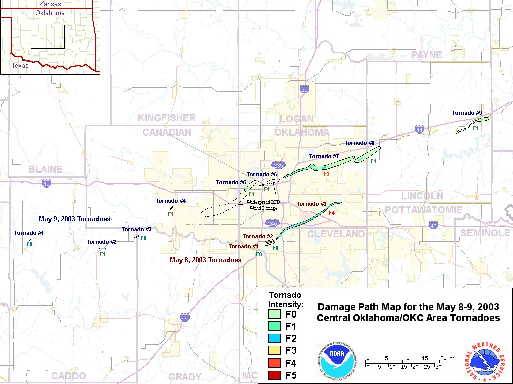 Composite Damage Track Map for the May 8-9, 2003 Central Oklahoma Tornadoes