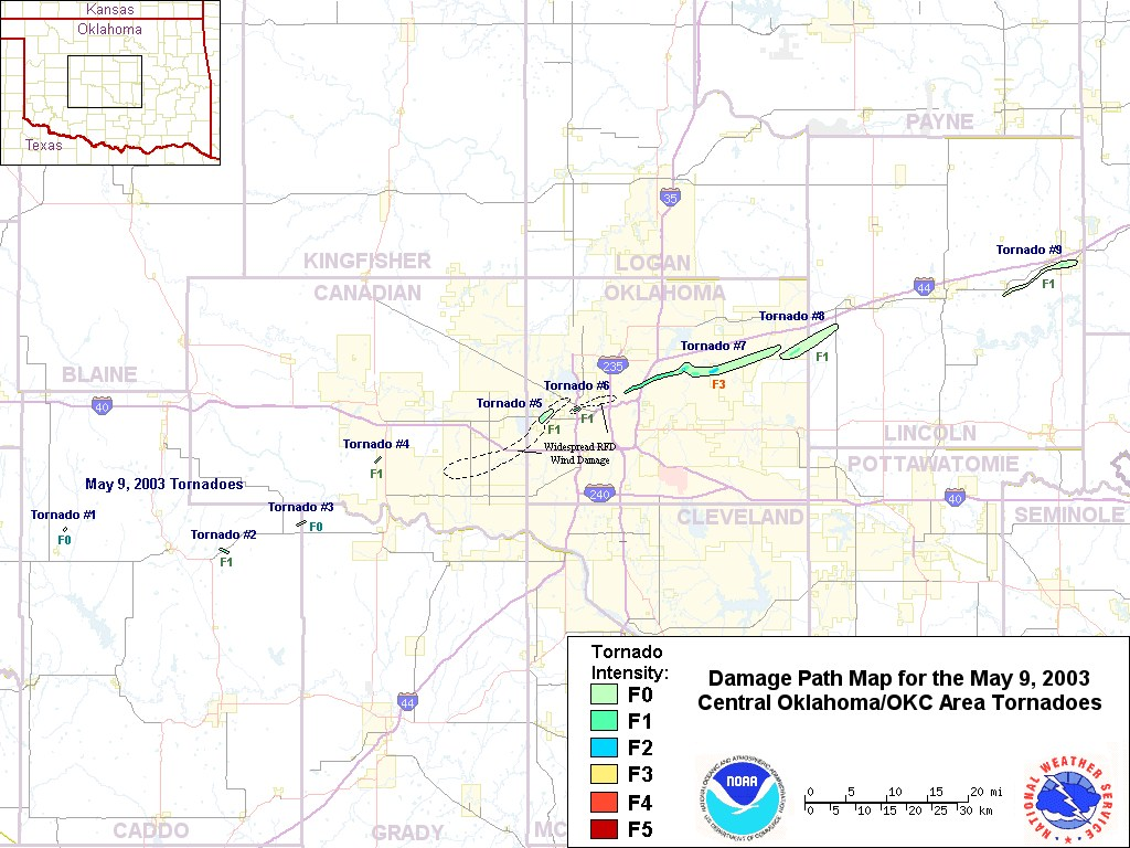 Damage Track Map for the May 9, 2003 Central Oklahoma Tornadoes