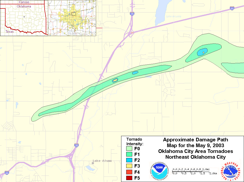 Information for the Northeast Oklahoma City-Jones Tornado of May 9, on
