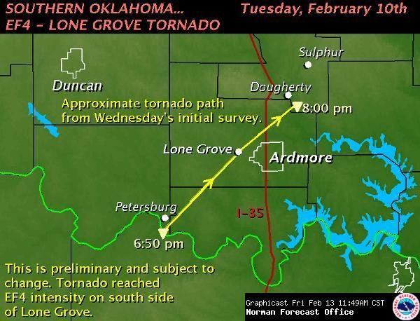 Preliminary Tornado Damage Path Map for the Lone Grove, OK Area