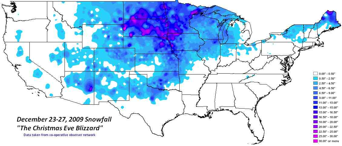 Storm Total Snowfall Associated With The Christmas Eve  Blizzard - Us snowfall map 2009