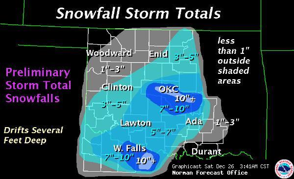 A Review Of The December   Christmas Eve Blizzard - Us snowfall map 2009