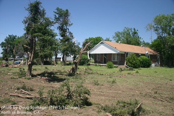 Tree damage at a home north of Braman