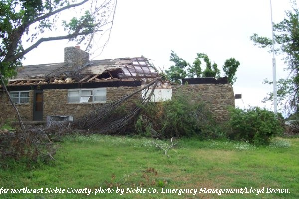 House damage in northeast Noble County