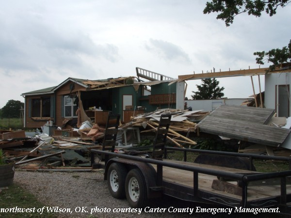 Mobile home destroyed northwest of Wilson, OK