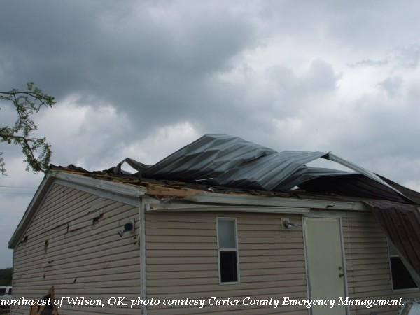 Roof damage northwest of Wilson, OK