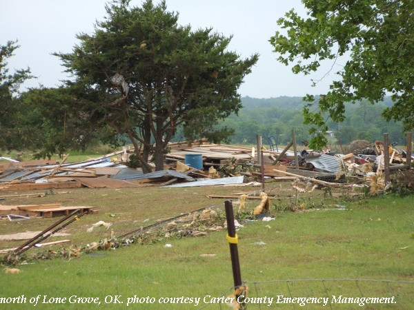 Damage north of Lone Grove, OK