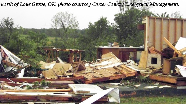 Damage to a home north of Lone Grove