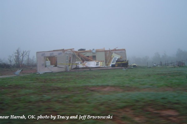 Home damaged near Harrah, OK