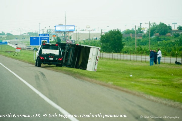 Truck flipped on Interstate 35 in north Norman, OK