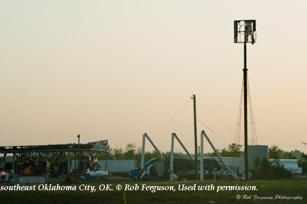 Damage along Interstate 40 in southeast Oklahoma City, OK