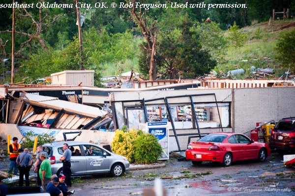 Damage to a gas station near Interstate 40 in southeast Oklahoma City, OK.
