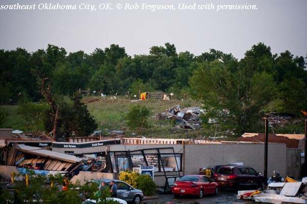 Damage to a gas station near Interstate 40 in southeast Oklahoma City, OK