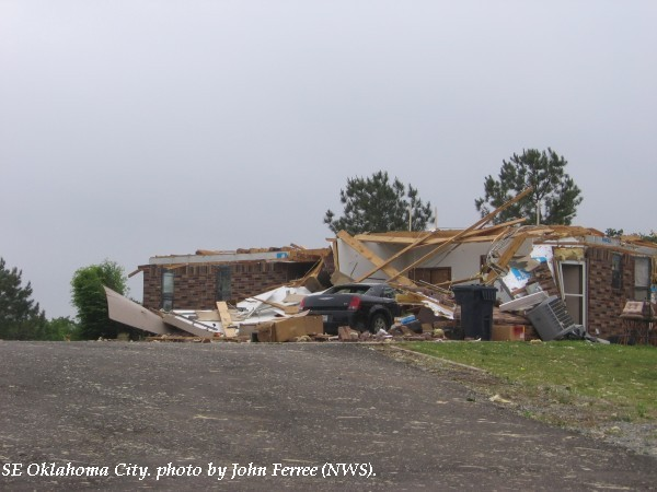A home damaged in southeast Oklahoma City