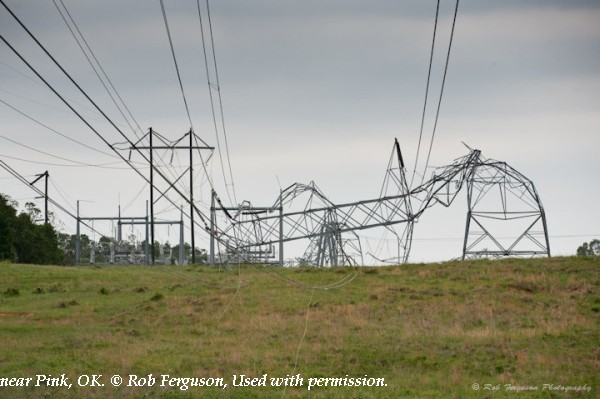 Transmission line damage near Pink