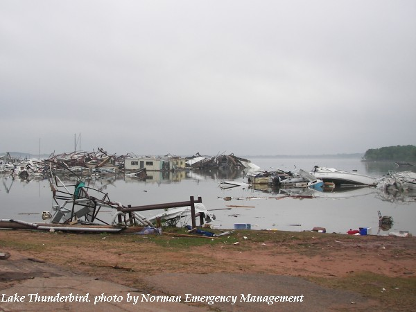 Damage to marina at Lake Thunderbird