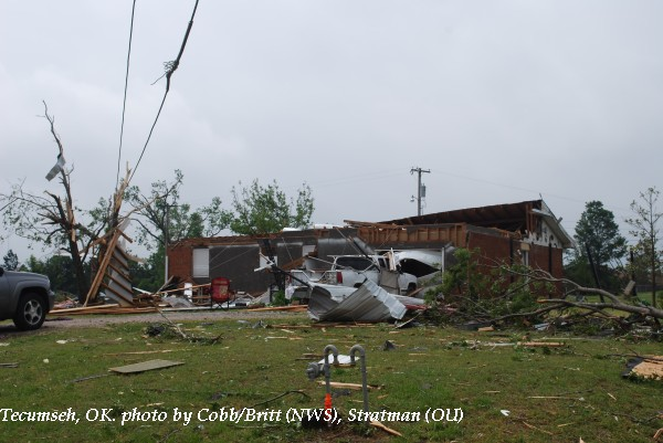 Home damage in Tecumseh, OK