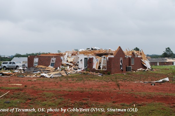Home damage east of Tecumseh, OK