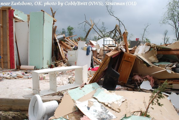 Home damage near Earlsboro, OK