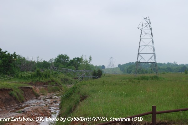 Transmission line damage near Earlsboro, OK