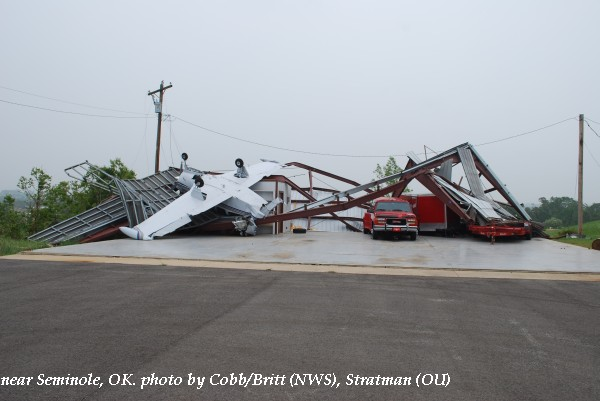 Damage near Seminole (OK) airport.