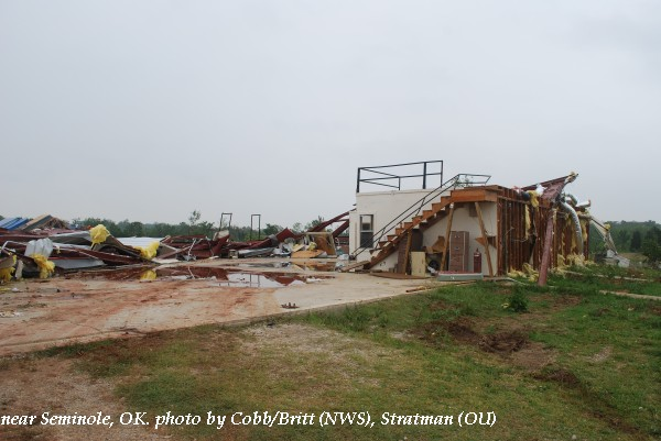 Home damage near Seminole, OK.