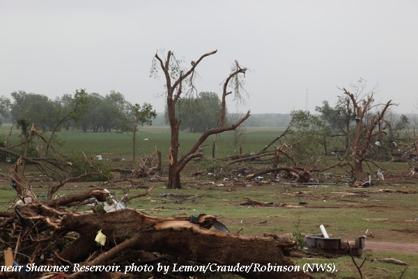 Tree damage west of Shawnee, OK.