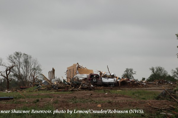 Home damage west of Shawnee, OK