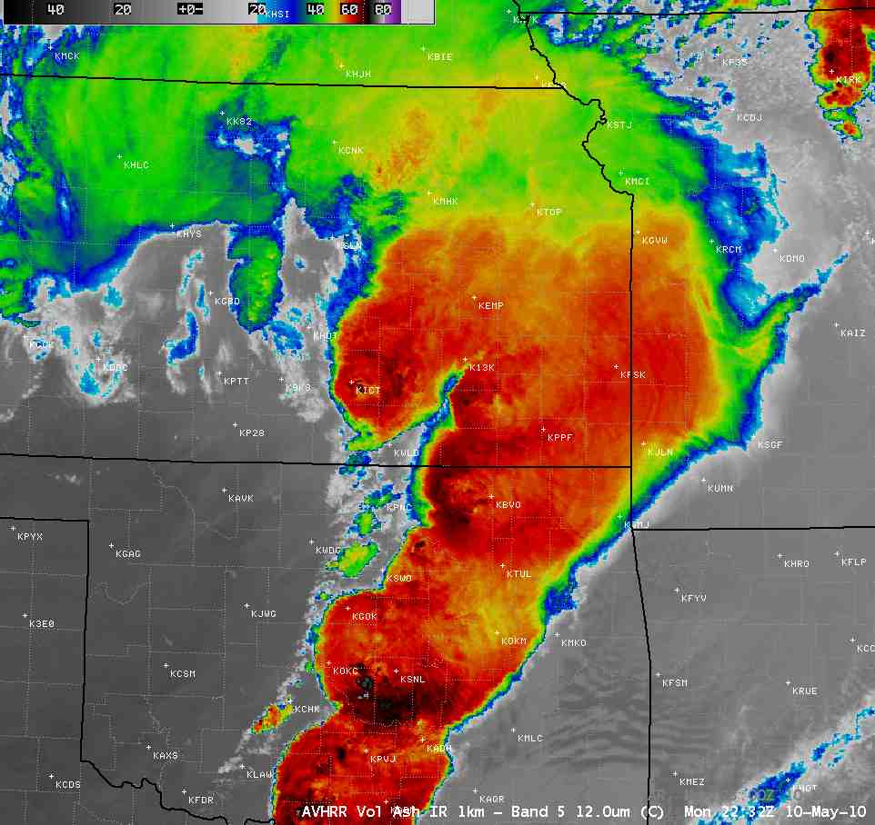 A large-scale IR view on May 10, 2010 at 5:32 PM CDT showing the cluster of very cold IR cloud top temperatures (as cold as -84 C, purple enhancement) that a short time earlier was likely associated with the reports of a couple of tornadoes and hail of 4.00 and 3.75-inch in diameter in the Norman and Tinker AFB areas.