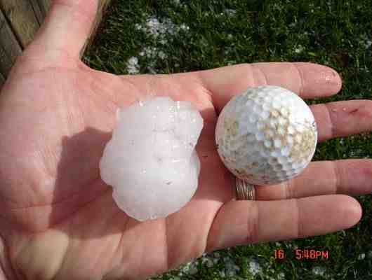 Here is a photo of golfball size hail near the intersection of 164th Street and Meridian Avenue in Oklahoma City on May 16, 2010.