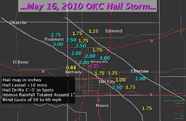 Hail Reports for the May 16, 2010 Hail Storm in Central Oklahoma