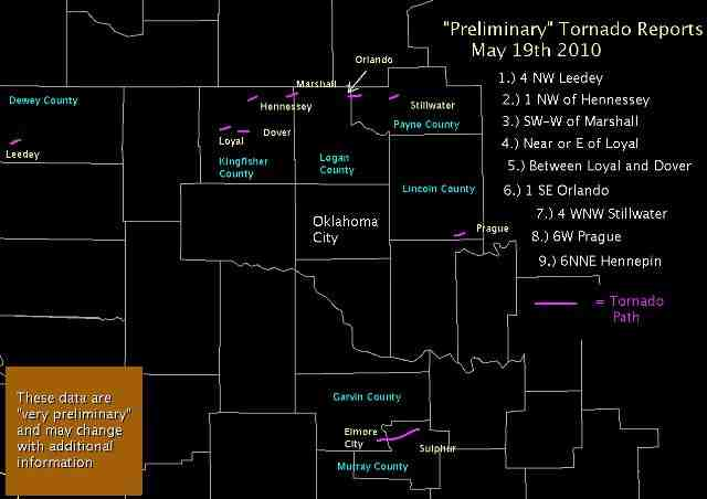 Preliminary Tornado Damage Paths for May 19, 2010 in Central Oklahoma