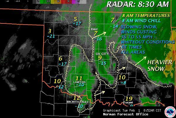 Regional Weather Conditions at 8:30 am CST on February 1, 2011