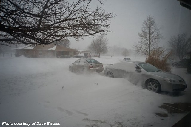 Photo of weather conditions in Okarche, OK during the winter storm on February 1, 2011. Photo taken by and provided courtesy of Dave Ewoldt.