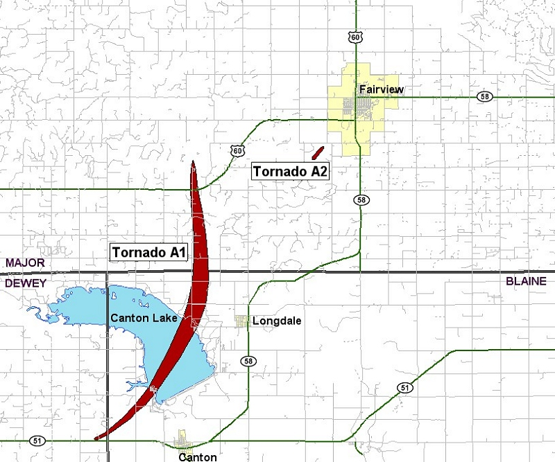 Preliminary Tornado Track for the Fairview, OK Tornado of May 24, 2011