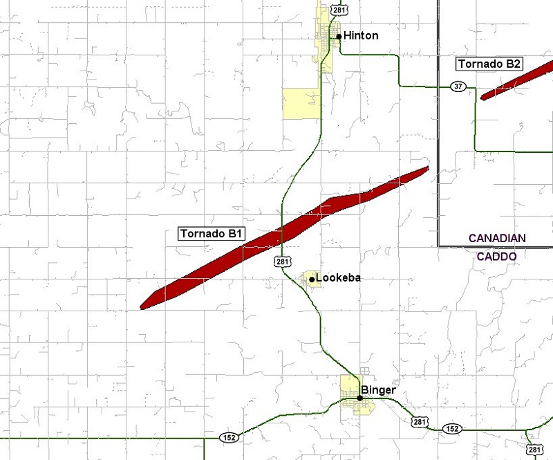 Preliminary Tornado Track for the Lookeba Tornado of May 24, 2011