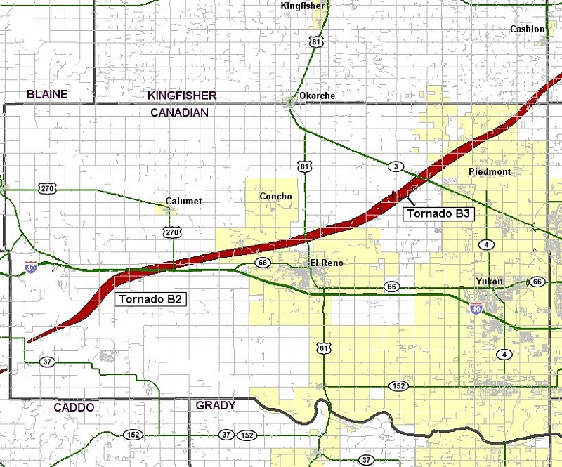 Preliminary Tornado Track for the Calumet-El Reno-Piedmont-Guthrie Tornado of May 24, 2011 - Canadian County Portion