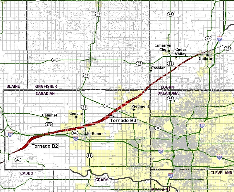 Preliminary Tornado Track for the Calumet-El Reno-Piedmont-Guthrie Tornado of May 24, 2011