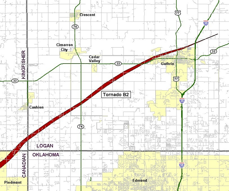 Preliminary Tornado Track for the Calumet-El Reno-Piedmont-Guthrie Tornado of May 24, 2011 - Logan County Portion