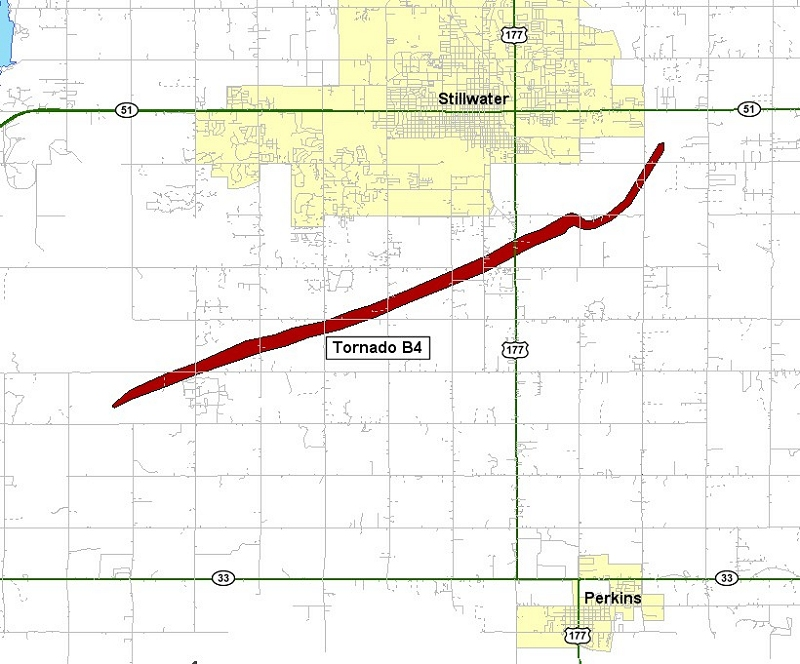 Preliminary Tornado Track for the Stillwater Tornado of May 24, 2011
