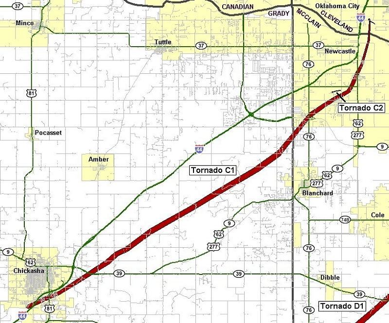 Preliminary Tornado Track for the Chickasha-Blanchard-Newcastle Tornado of May 24, 2011